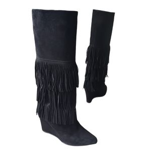 PEDRO Miralles Black SuedeTassel High Boots 38